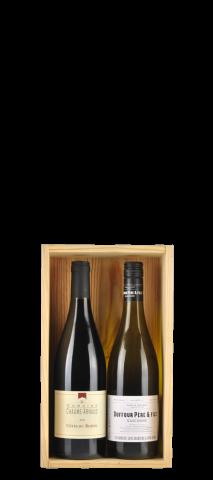 Houten kist voor 2 flessen met doorschijnend schuifdeksel: