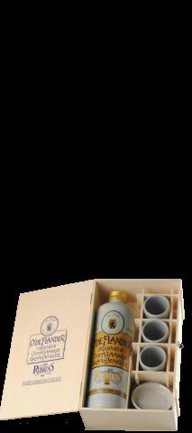 kistje met 1 kruik jenever en 3 stene bekers
