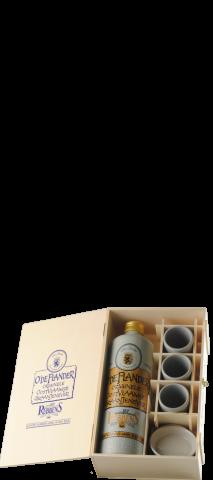Caisse en bois avec 1 jarre genievre et 3 gobelets