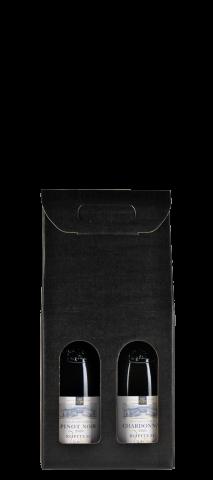 Boîte cadeau couleur noire pour 2 bouteilles :