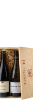 Houten kist voor 2 flessen, opdruk 'Grands Vins de France'