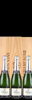 Houten kist (3 fl.) GVC met De Venoge Cordon Bleu Brut