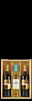 Houten kist voor 3 flessen met doorschijnend schuifdeksel: